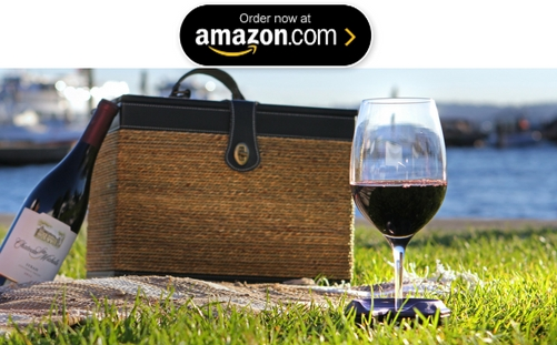 Button to buy Bella D'Vine Outdoor Wine Glass Holder by SunChaser Products on Amazon